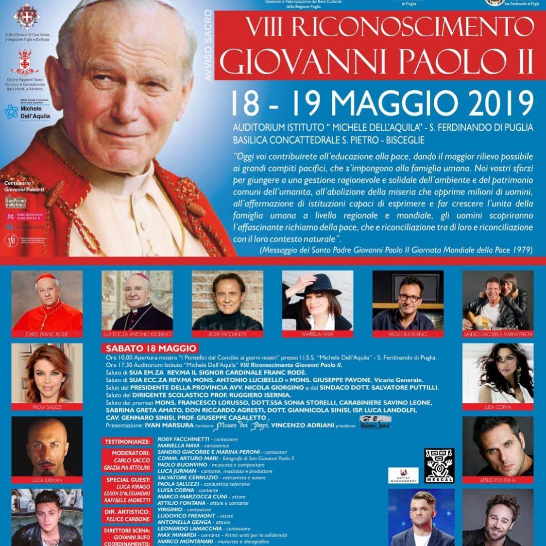 """18 MAGGIO 2019 A BARI """"RICONOSCIMENTO ASSOCIAZIONE GIOVANNI PAOLO II"""""""