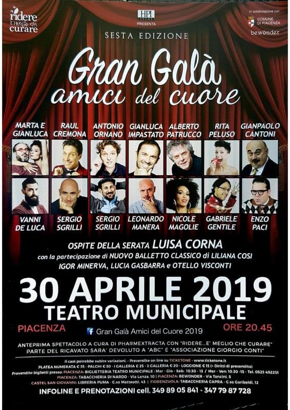 """30 APRILE 2019 """"GRAN GALA' AMICI DEL CUORE"""" TEATRO MUNICIPALE DI PIACENZA"""