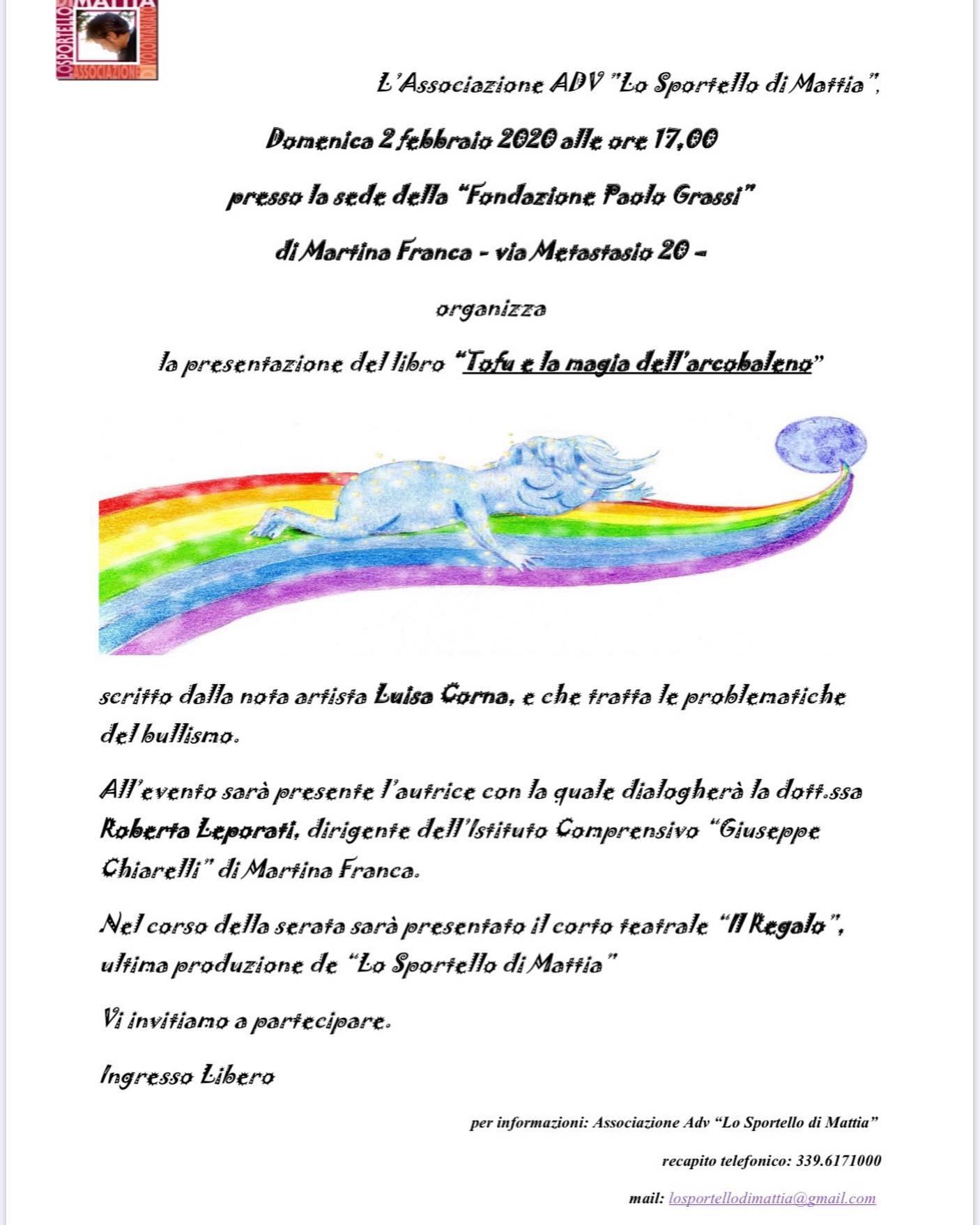 """2 FEBBRAIO 2020 PRESENTAZIONE DEL LIBRO """"TOFU E LA MAGIA DELL'ARCOBALENO MARTINA FRANCA (PUGLIA)"""